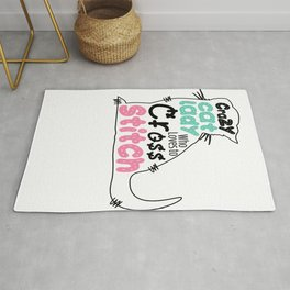 Crazy Cat Lady Who Loves To Cross Stitch Funny Pet Stitcher T-Shirt Rug