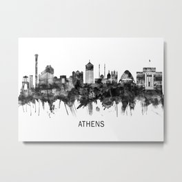 Athens Greece Skyline BW Metal Print