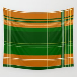 Green and Orange Plaid Wall Tapestry
