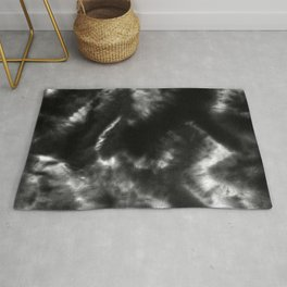 Vibrant Black and White Tie-Dye Rug