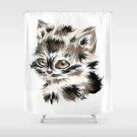 kitty Shower Curtains featuring Kitty by quackso