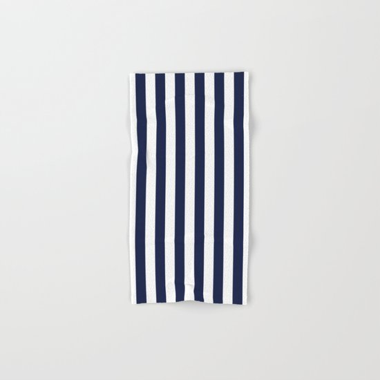 Maritime pattern- darkblue stripes on clear white- vertical Hand & Bath Towel