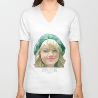 emma stone V-neck T-shirts featuring Emma Stone by You Xiang