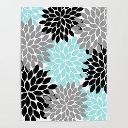 Aqua Black Gray Flower Burst Floral Pattern Poster