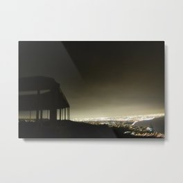 Temple at Moonfire Ranch: Night Time City View From the Mountain Metal Print