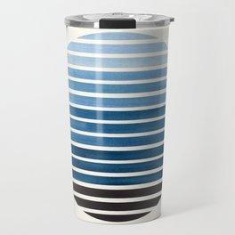 Green Blue Mid Century Modern Minimalist Scandinavian Colorful Stripes Geometric Pattern Round Circl Travel Mug