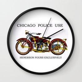 1922 Chicago Police Henderson De Lexe Motorcycle Portrait by Jeanpaul Ferro Wall Clock