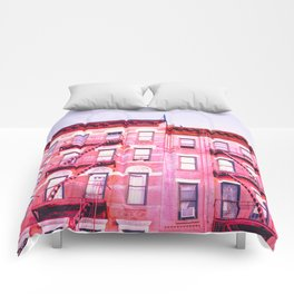 New York City Pink Buildings Comforters