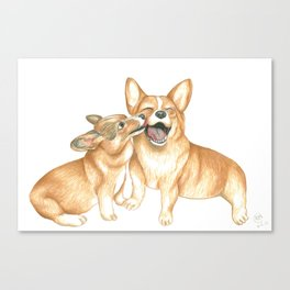 Corgi and Bess Canvas Print