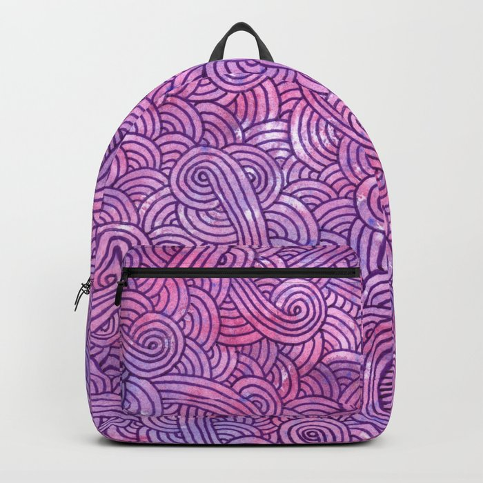 Neon pink and purple swirls doodles Backpack