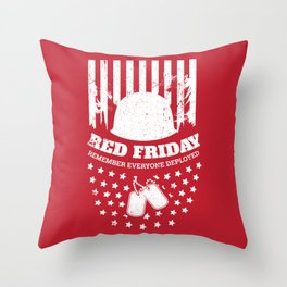 Red Friday American Flag Military Throw Pillow