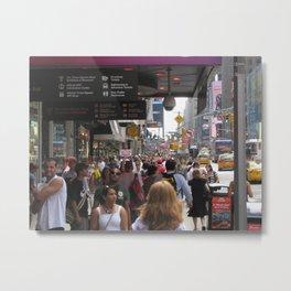 Crowd New York City Sidewalk Metal Print