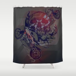 Until One of Us Starts Raving - Skull and Motorbikes Shower Curtain