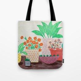 Plants in Printed Pots Tote Bag