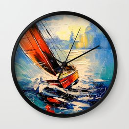 Yacht in the wind Wall Clock