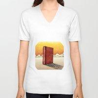 literature V-neck T-shirts featuring Literature Heavy book by gunberk