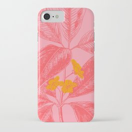 Modern Botanical Leaves in Pink iPhone Case