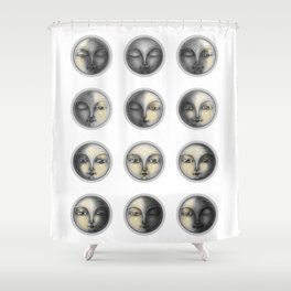 moon phases and romanticism Shower Curtain