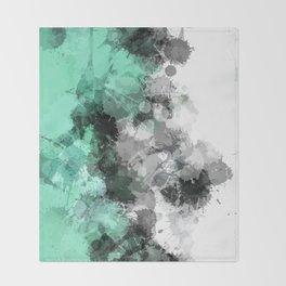 Mint Green Paint Splatter Abstract Throw Blanket