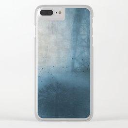 bridge in fog Clear iPhone Case