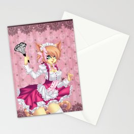 Pink Neko Maid Stationery Cards