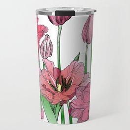 Pink Hibiscus Pattern Travel Mug