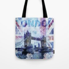 London Tower Bridge mixed media Art and Typography Tote Bag