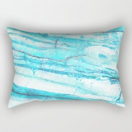 White Marble with Blue Green Veins Rectangular Pillow