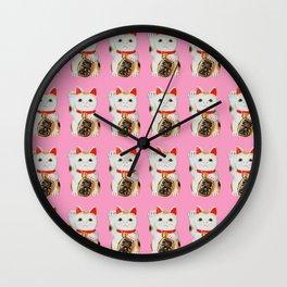 MANEKINEKO CAT PINK PATTERN Wall Clock
