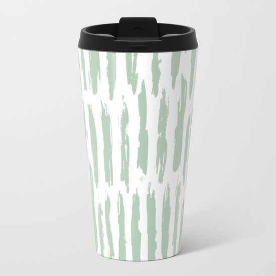 Vertical Dash Stripes Pastel Cactus Green on White Metal Travel Mug
