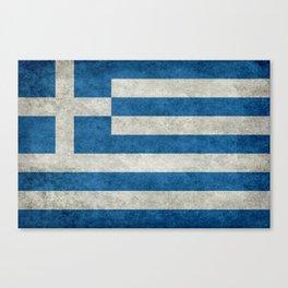Flag of Greece, vintage retro style Canvas Print