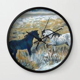 Nokota Horses. Wall Clock