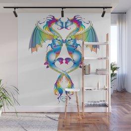Rainbow Love Dragons Wall Mural