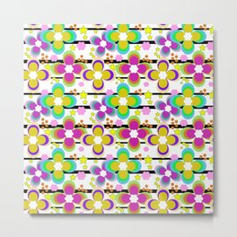 Bright abstract floral pattern. Stripe . Metal Print
