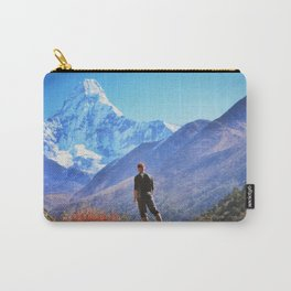 Man hiking on a stone   view in the himalayas,   Ama Dablam ,Nepal Carry-All Pouch