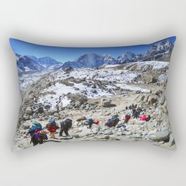 Trekking in Himalaya. Group of hikers  with backpacks   on the trek in Himalayas, trip  to the base  Rectangular Pillow