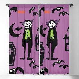 Cute Dracula and friends purple #halloween Blackout Curtain