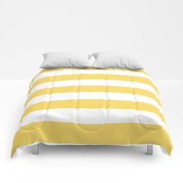 Naples yellow - solid color - white stripes pattern Comforters