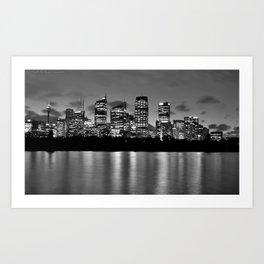 Sydney Night Skyline Art Print