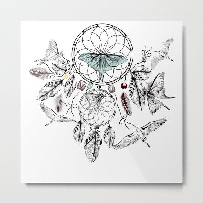 Bohemian print design with hand drawn dreamcatchers Metal Print
