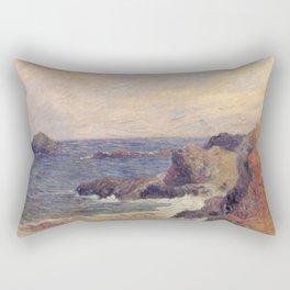 """Paul Gauguin - Seascape """"Rochers au bord de la mer"""" or """"La Côte rocheuse"""" (1886) Rectangular Pillow"""