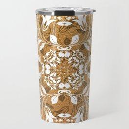 ELEGANT GOLD AND WHITE FLORAL MANDALA Travel Mug