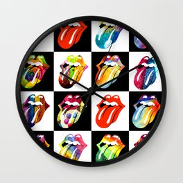 Colorful Rollings Stones Wall Clock