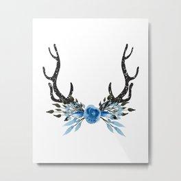 Floral Deer Antler Metal Print