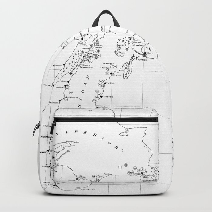 Vintage Map of Shipwrecks of the Great Lakes Backpack by vuramedia on map of the arctic, map of the staten island ferry, map of the new jersey, map of the weather, map of the great lakes ports, map of the hurricane, map of the north carolina,