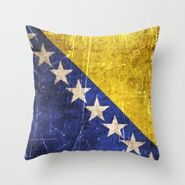 Vintage Aged and Scratched Bosnian Flag Throw Pillow