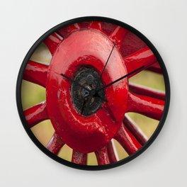 Red Wagon wheel Wall Clock