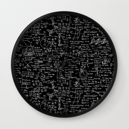 Physics Equations on Chalkboard Wall Clock