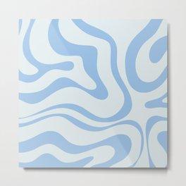Soft Liquid Swirl Abstract Pattern Square in Powder Blue Metal Print