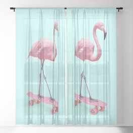 SKATE FLAMINGO Sheer Curtain